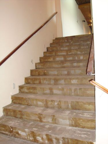 These stairs were covered with old carpet that the guys had to remove.  The carpet was full of fine dust, so you can imagine the mess it made to clean it up!