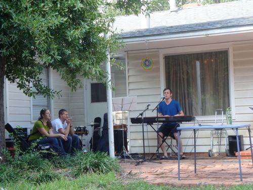 This little corner of the patio was the perfect space to function as a stage.  Our back yard is AWESOME!